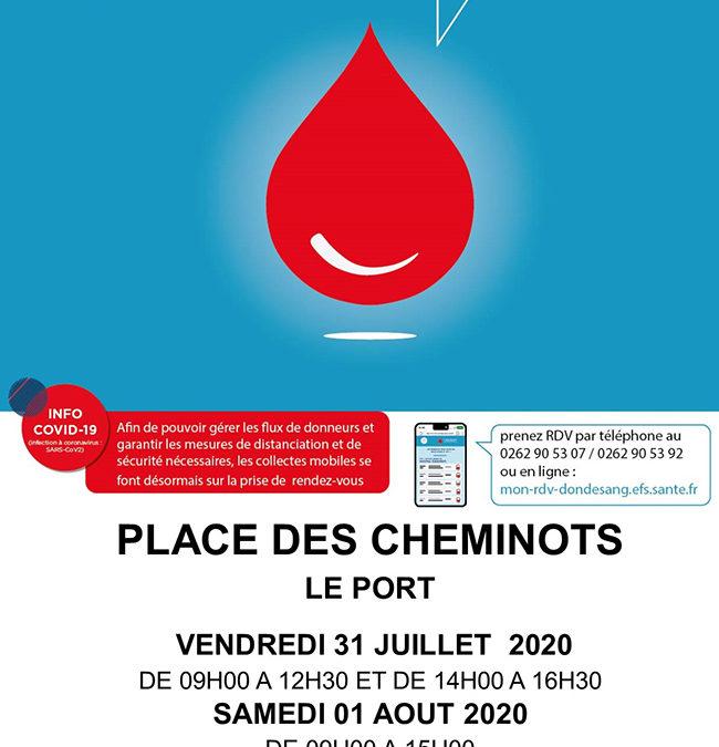 Don de sang : collectes les 31 juillet et 1er août au Port