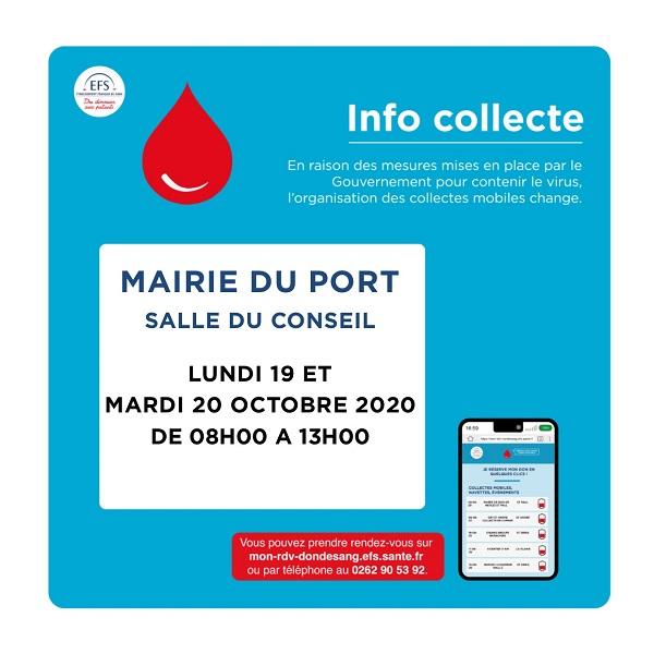 Donnez votre sang les 19 et 20 octobre au Port