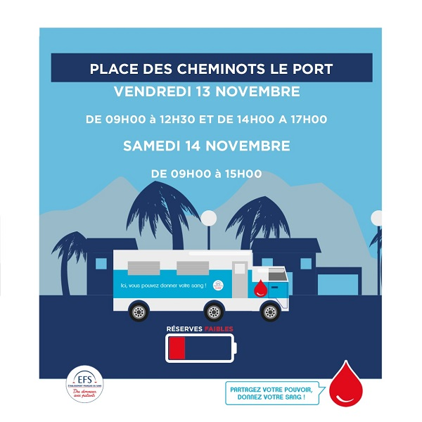 [Rappel]  Collecte de sang les 13 et 14 novembre, Place des Cheminots