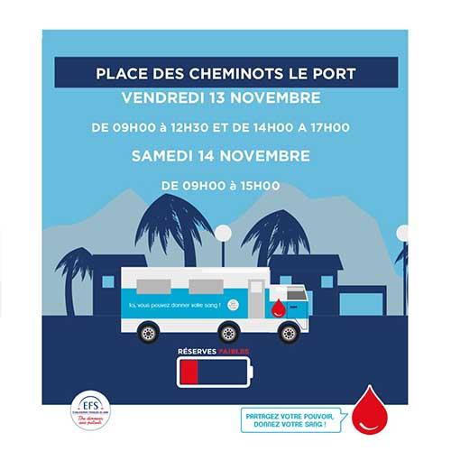 Planning don du sang:  rendez-vous les 13 et 14 novembre au Port