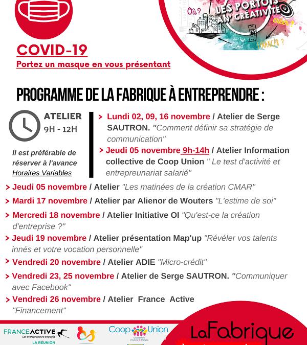 Ateliers et permanences en ce mois de novembre à la Fabrique à entreprendre – Les Portois an' Créativité.
