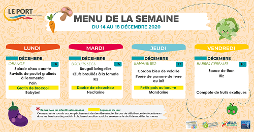 Restauration scolaire: menu de la cantine au Port