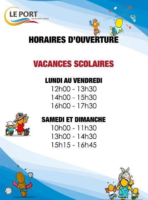 Vacances: horaires d'ouverture de la piscine