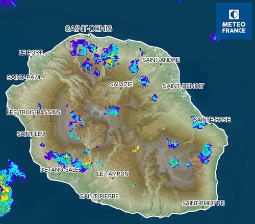 Prudence ! Vigilance Orage à La Réunion à partir de 12h ce lundi 25 janvier.