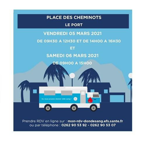 [Rappel] Collecte de sang les 5 et 6 mars, Place des Cheminots