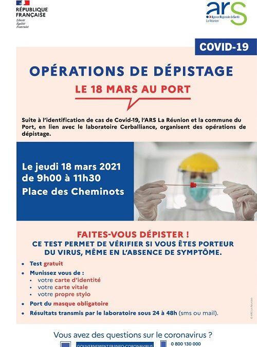 Covid-19 : dépistage gratuit, jeudi 18 place des Cheminots