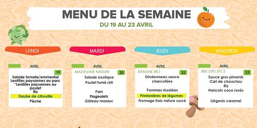 Restauration scolaire: menu de la cantine au Port