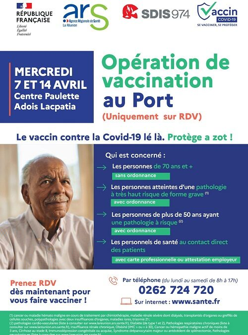 Coronavirus : opérations de vaccination au Port