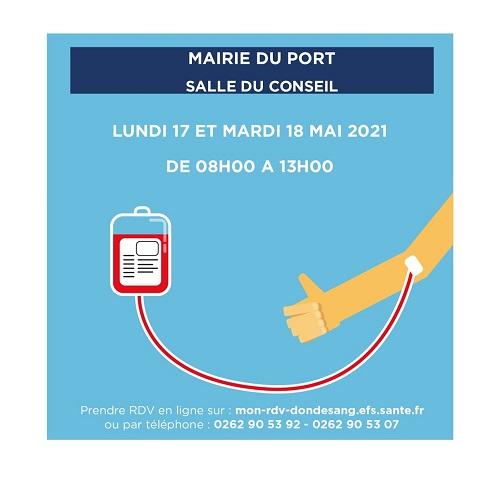 [Rappel] Collectes de sang les 17 et 18 mai au Port