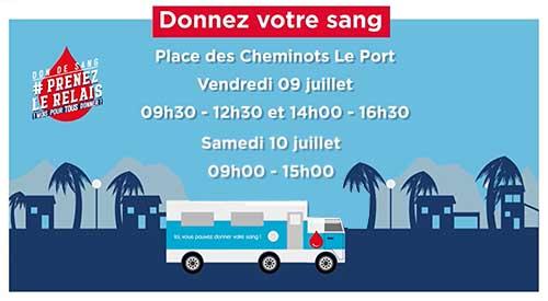 Don de sang en juillet, place des Cheminots