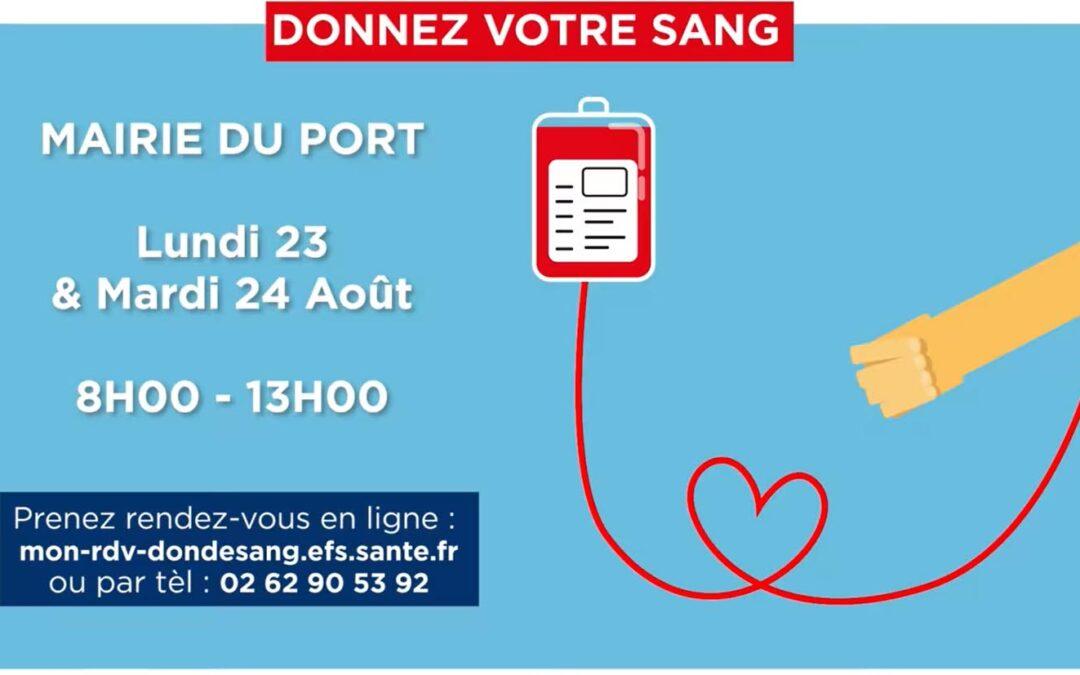 Collecte de sang les 23 et 24 août à la mairie du Port