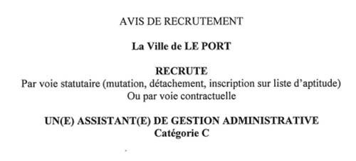 Avis de recrutement